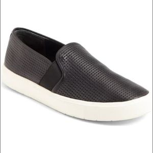 VINCE. Perforated Black Leather Slip-On Sneakers